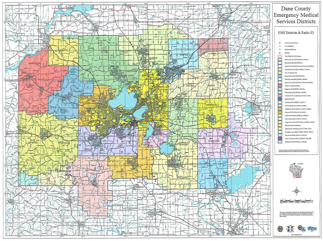 A map of Dane County EMS Districts