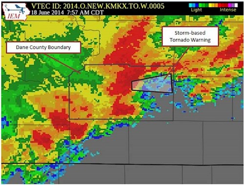 Map of storm-based tornado warning on June 18, 2014 in Dane County