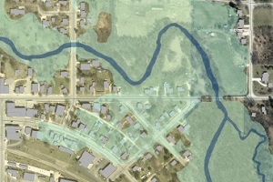Floodplain and storm water management map